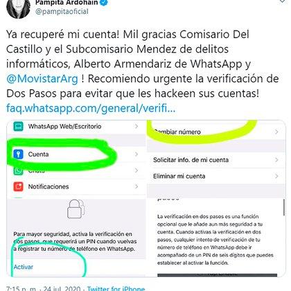 El tuit de Pamptia aclarando que ya recuperó su WhatsApp