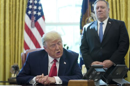 Pese a las acusaciones de Pompeo, Trump no responsabilizó a Rusia por el ciberataque (POOL VIA CNP / ZUMA PRESS)