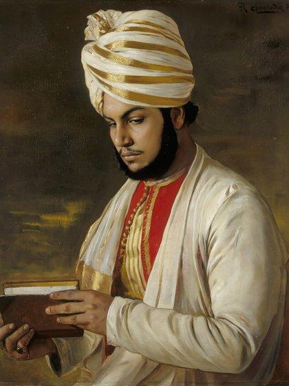 La pintura que encargó Victoria en homenaje a Abdul Karim, donde no lo retrata como un sirviente sino como un noble