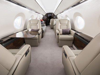 El interior del Gulftream V, el avión privado de Lionel Messi