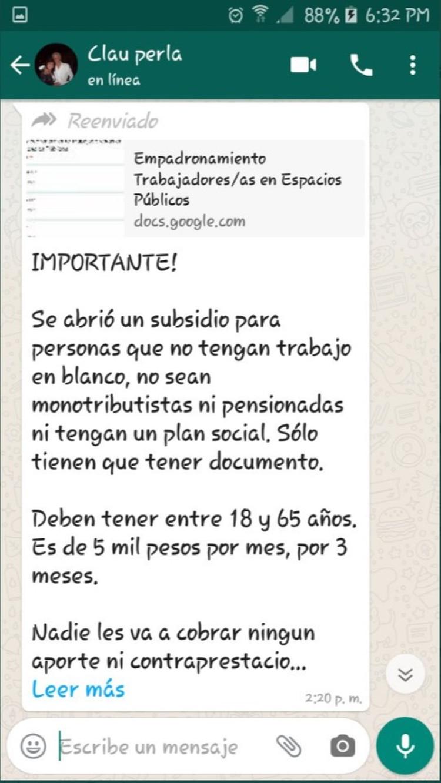"""Coronavirus y ciberestafas: alertan por cadenas de WhatsApp donde se pide a  los usuarios que se """"inscriban"""" en un padrón para recibir subsidios -  Infobae"""