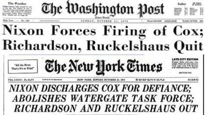 El fiscal especial Archibald Cox investigó el caso Watergate; Nixonlo echó en octubre de 1973.