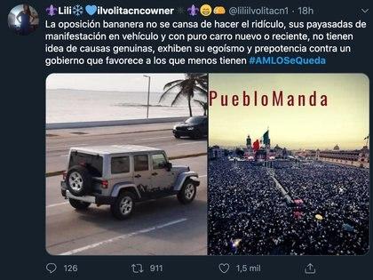 Mientras ayer #AMLOVeteYa era tendencia en Twitter, hoy #AmloSeQueda, lo ha desplazado  Foto: Tw / @liliilvolitacn1