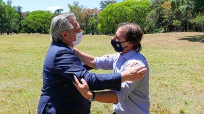 Alberto Fernández y Luis Pedro Lacalle Pou, presidente de Uruguay, en la Estancia Anchorena