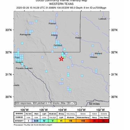 Así fue ubicado el sismo en Texas (Foto: Servicio Geológico de Estados Unidos)