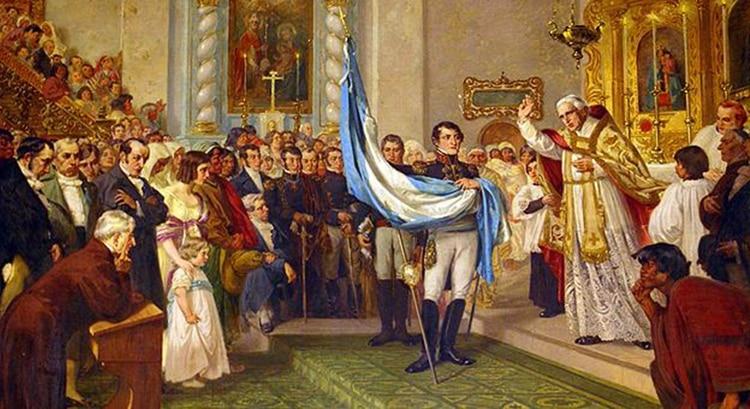 Bendición de la banderapor Juan Ignacio Gorriti en la iglesia matriz de San Salvador de Jujuy, sostenida por Manuel Belgrano. Óleo de Luis de Servi