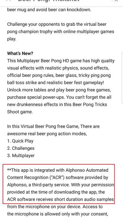 Éste es un ejemplo de Beer Pong: Trickshot, otra app que integra Alphonso, tal como se detalla en la descripción a la que se accede antes de descargar el servicio desde Google Play