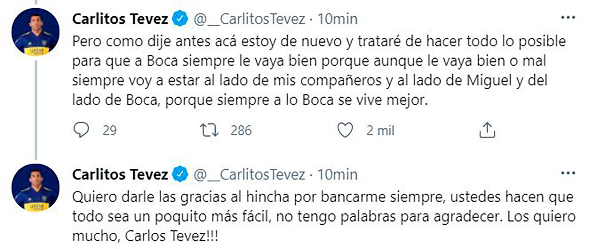 Mensaje de Tevez en Twitter