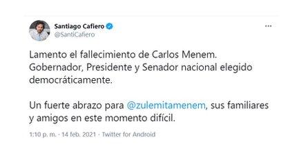 """""""Elegido democráticamente"""", destacó Santiago Cafiero"""