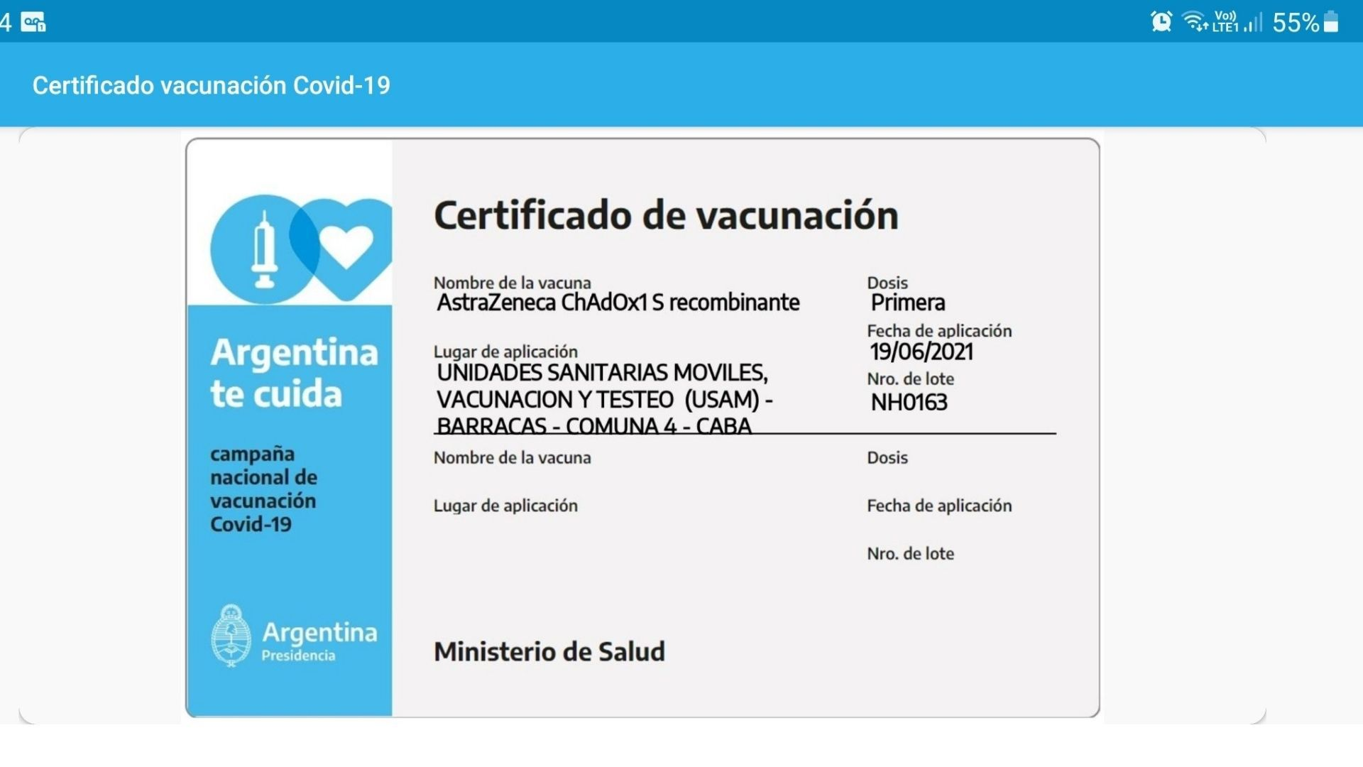 Certificado de vacunación Mi Argentina
