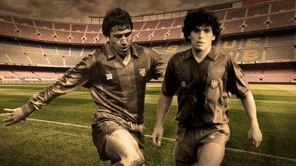 Muñoz y Diego, con el fondo del Camp Nou