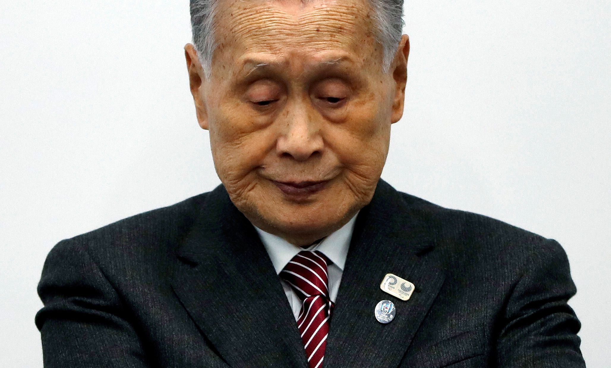 Yoshiro Mori, President of the Tokyo 2020 Olympic Games Organising Committee, attends a news conference in Tokyo, Japan March 23, 2020. REUTERS/Issei Kato