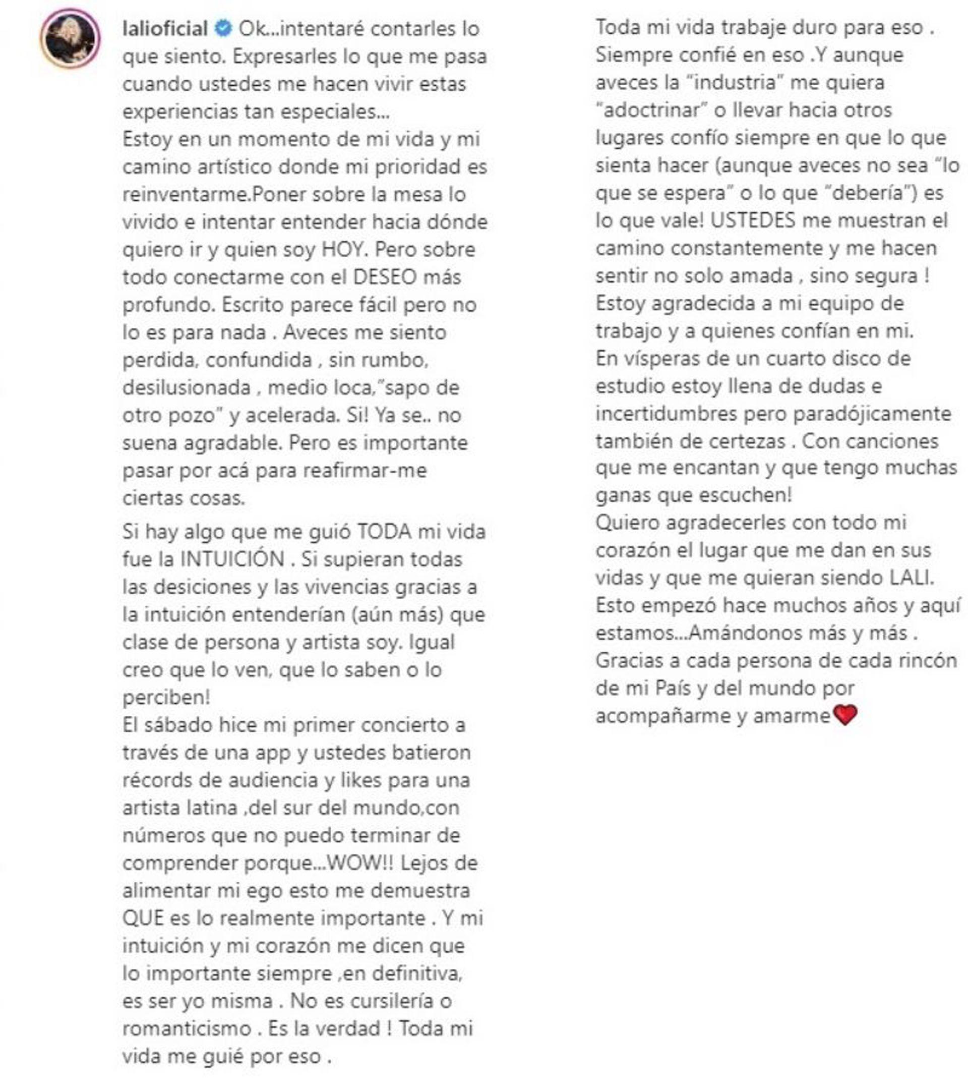 El texto completo de Lali Espósito
