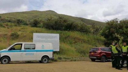 Lugar del levantamiento del cuerpo de Felipe Tobón en el cerro de las Tres Cruces. Cortesía: Policía Cali