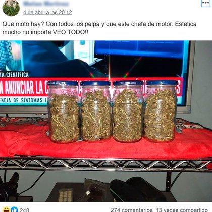 Por una moto: canje de marihuana en Facebook, zona oeste.