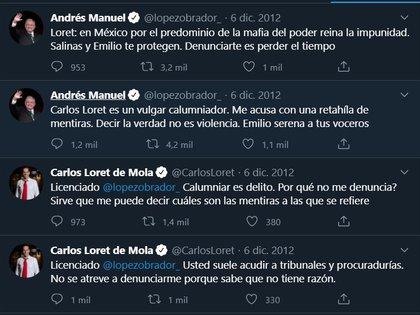 Cruces de declaraciones en Twitter entre Loret de Mola y López Obrador (Captura de pantalla: Twitter)
