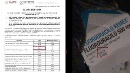 Los medicamentos hallados coincidían con el lote reportado por la Cofepris en la alerta sanitaria emitida tras el robo. (Foto: Noticieros Televisa/Captura de pantalla)