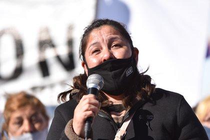 Cristina Castro, madre de Facundo, en la reciente Marcha contra el Gatillo Fácil.