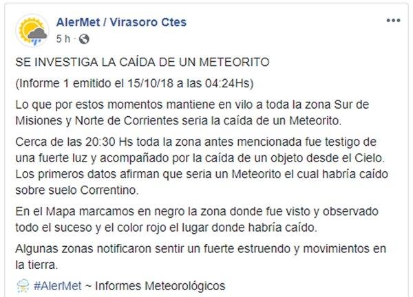 Uno de los reportes en redes sociales de los centros de informes meteorológicos de la ciudad correntina de Virasoro