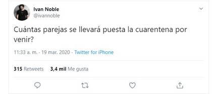 Iván Noble y su chiste sobre la cuarentena y el divorcio (Twitter: @ivannoble)