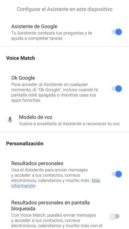 """Activar la opción de Voice Match que permite que el asistente responda al comando """"Ok, Google"""" aún cuando la pantalla esté bloqueada"""