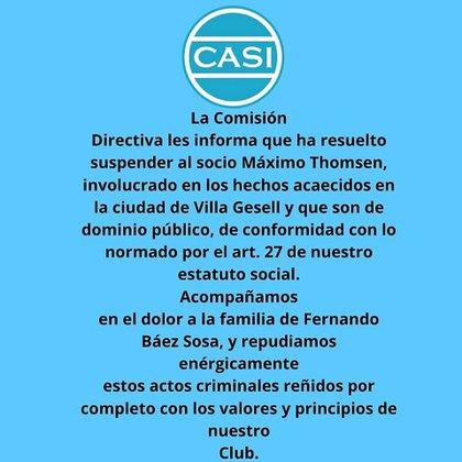 Adiós: el comunicado del CASI para suspender a Thomsen.