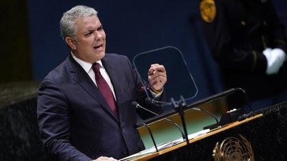 El presidente de Colombia, Iván Duque, se dirige a la 74ª sesión de la Asamblea General de las Naciones Unidas en la sede de la ONU en la ciudad de Nueva York, Estados Unidos, el 25 de septiembre de 2019. (Reuters/ Carlo Allegri)