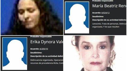 Ellas son las más buscadas por la fiscalía mexicana (Foto: PGR)