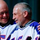 Jack O'Callahan, left, and Mark Pavelich of the 1980 U.S. ice hockey team talked during the