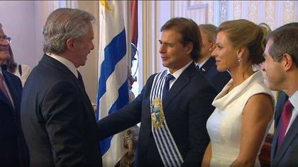 El canciller Felipe Solá y el presidente de Uruguay Luis Lacalle Pou (Presidencia)