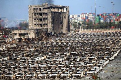 Una escena posterior a la explosión 2015 en Tianjin (Xinhua)