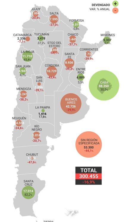 El mapa del reparto de la obra pública
