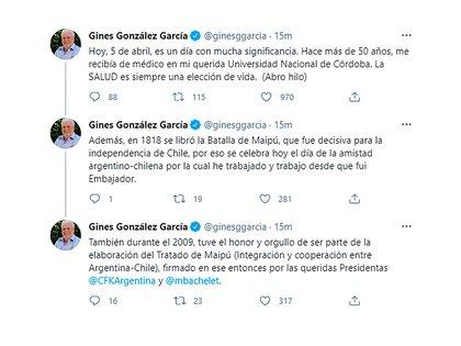 Los mensajes que publicó Ginés González García (Twitter)