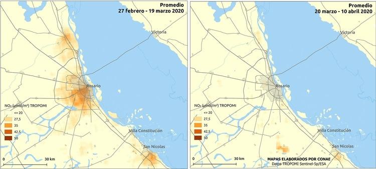 Mapa comparativo de NO2 en Rosario, de febrero-marzo - marzo-abril (CONAE)