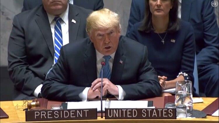 Donald Trump, presidente de Estados Unidos, participa de una reunión del Consejo de Seguridad