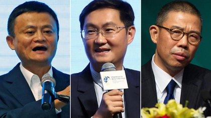 Jack Ma, Pony Ma y Zhong Shanshan. Foto de archivo