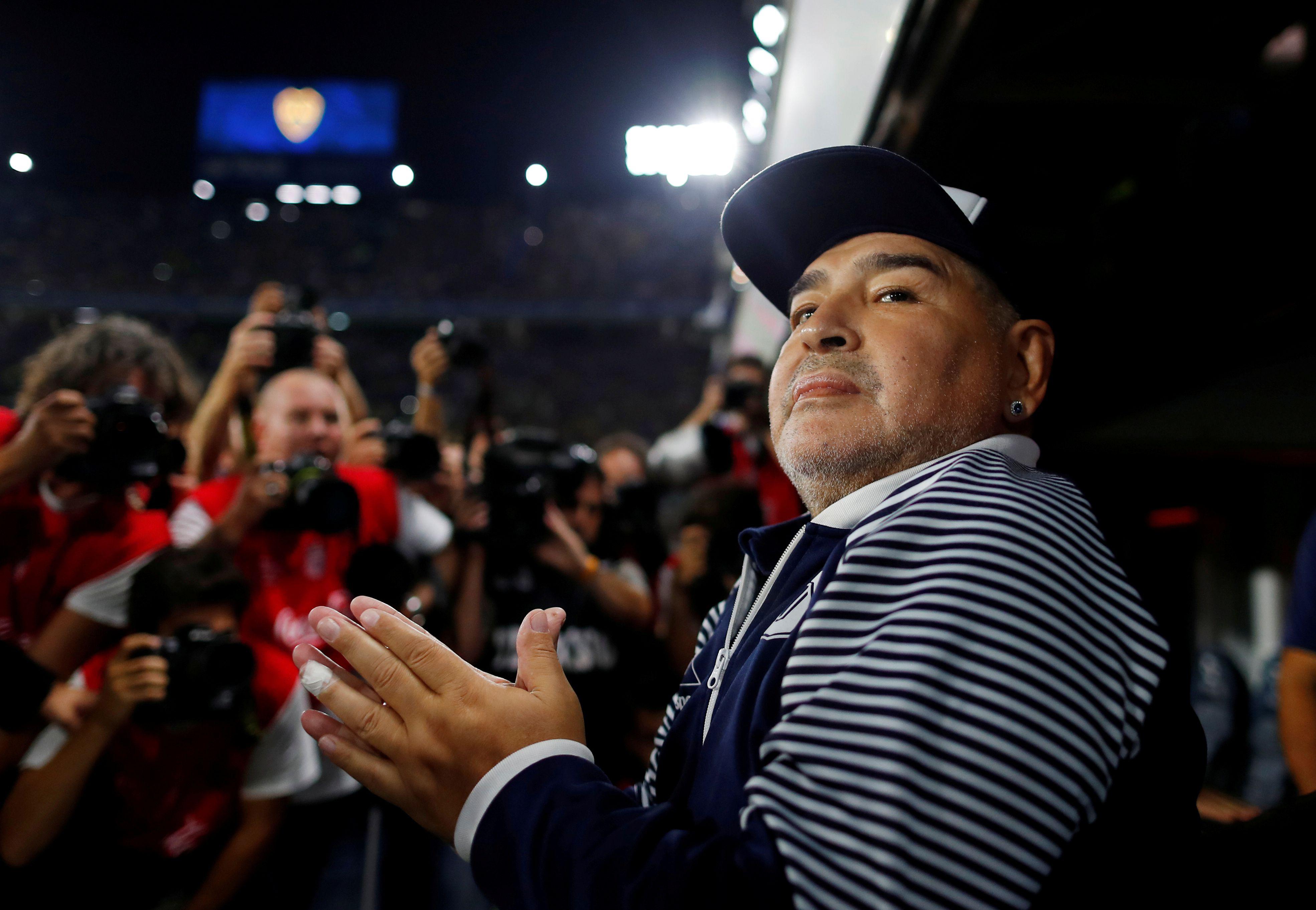 Diego, el último sábado en la Bombonera (REUTERS/Agustin Marcarian)