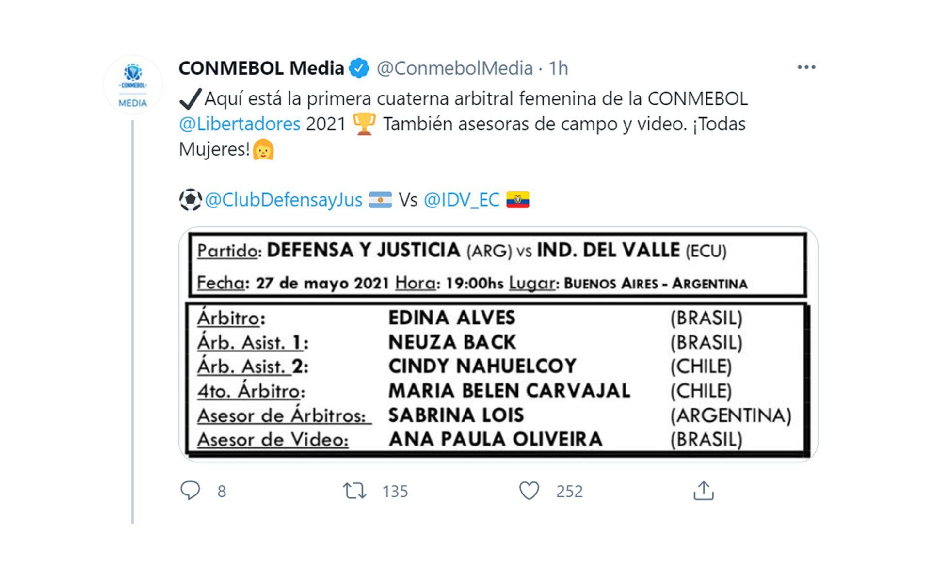 Primer cuarteto femenino Libertadores