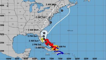 Mapa del avance del huracán (NOAA)