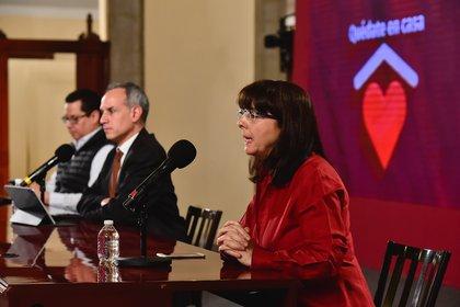 María Elena Álvarez-Buylla, directora de Conacyt presentó el informe anual de resultados del organismo (Foto: Twitter/HLGatell)