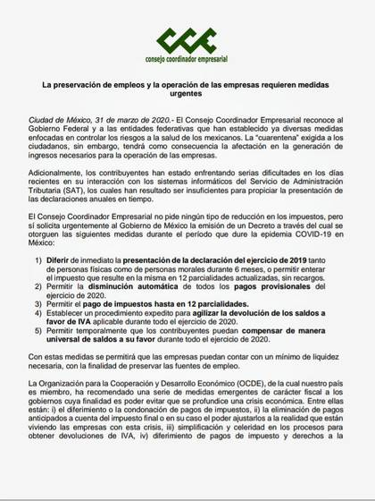 Boletín del Consejo Coordinador Empresarial (CCE) de México