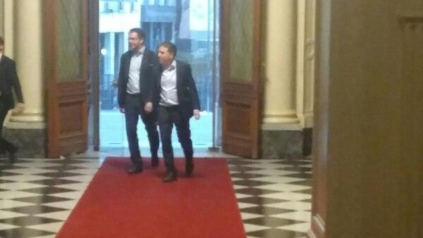 El ministro Nicolás Dujovne, esta tarde, al ingresar a Casa Rosada