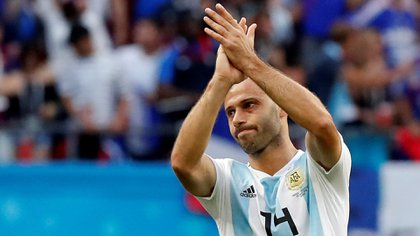 Mascherano al jugar para la selección argentina contra Francia en el Mundial de Rusia 2018 (REUTERS/Carlos Garcia Rawlins)