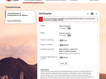 Captura compra-venta de dólares a través del Homebanking del HSBC