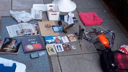 Las pertenencias que Rodrigo Roza llevaba en su mochila al momento del crimen