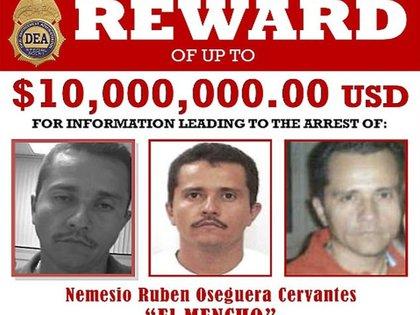 """El Departamento de Estado de EEUU duplicó de USD 5 a 10 millones la recompensa para quien proporcione información que lleve a la captura de Nemesio Oseguera Cervantes, alias """"El Mencho"""", (Foto: DEA)"""