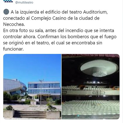 From the Multitabaris COMAFI account they maintain that the fire in a theater is the worst news for the Argentine theater community.