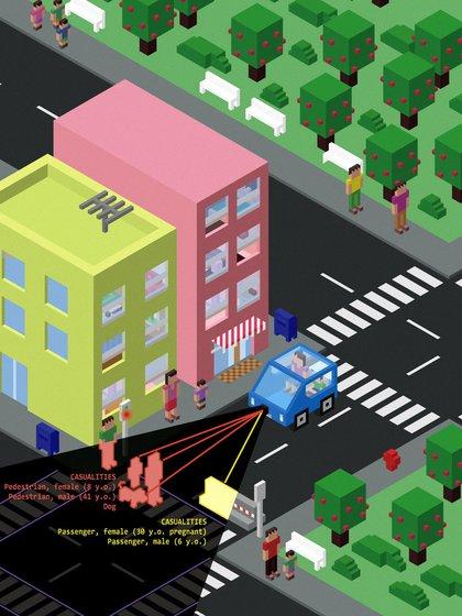 Un caso propuesto por el MIT: ¿matar a los peatones y al perro que cruzaron en rojo o sacrificar a los integrantes del automóvil?