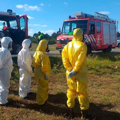 La policía científica trabajó en el lugar para determinar la causas del accidente vial (Municipio de Pinamar)