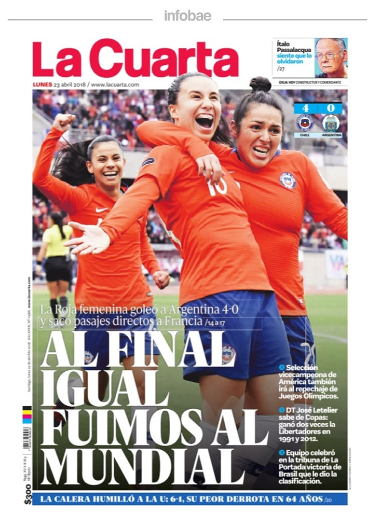 La cuarta, Chile, 23 de abril de 2018 - Infobae